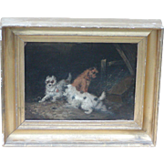 Painting of dogs...Terriers...Three Terriers...