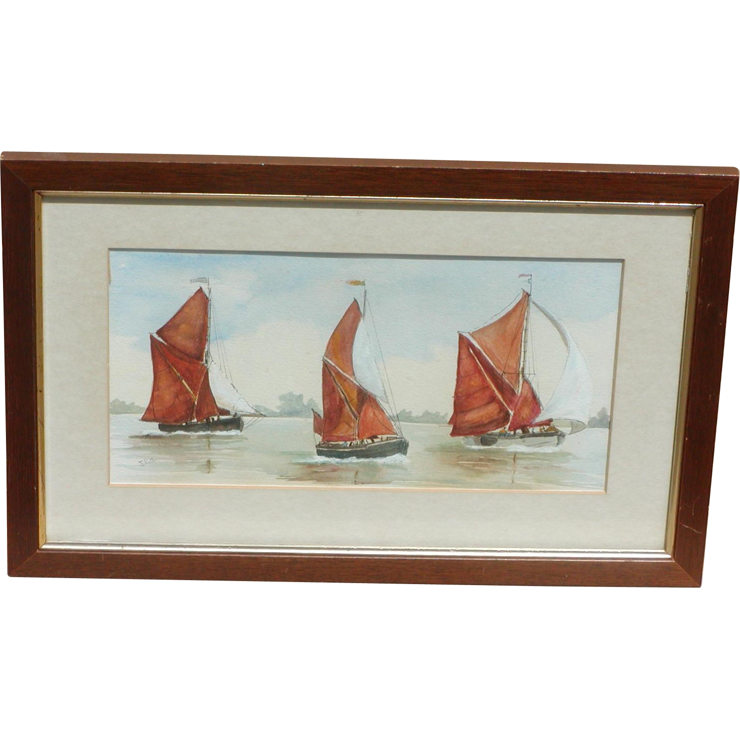 Painting of boats...Painting of three boats...Sailing boats painting...