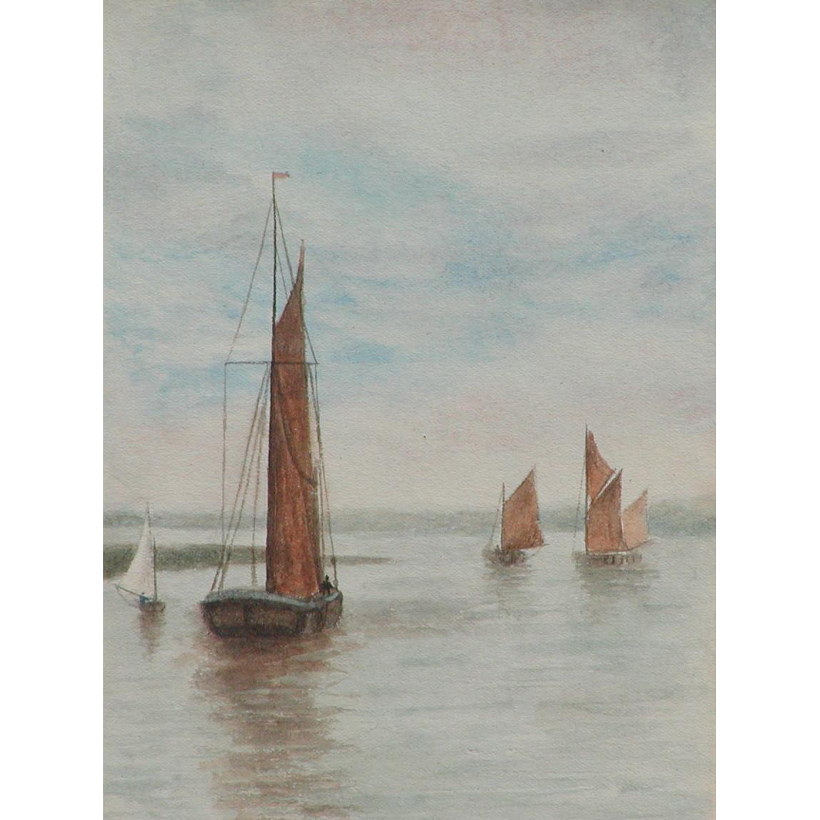 Painting of boats...Watercolor painting of boats...