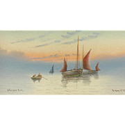 Painting of boats....Sunset with boats painting...
