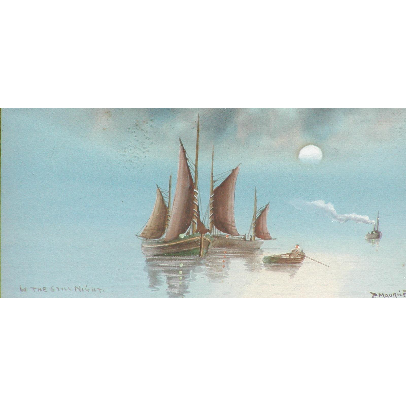 Boats painting....Watercolor painting of boats...Moonlit...