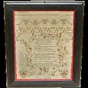 Sampler...1812 sampler...Needlework sampler...