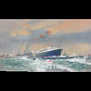 Naval ships painting...Britannia Navel Envoy painting...