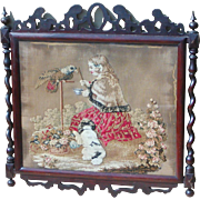 Tapestry...Victorian tapestry...Needlework Tapestry of girl, parrot & dog...