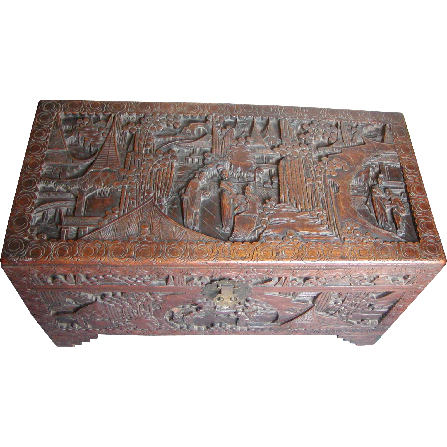 Camphor-wood chest...Carved camphor-wood trunk...