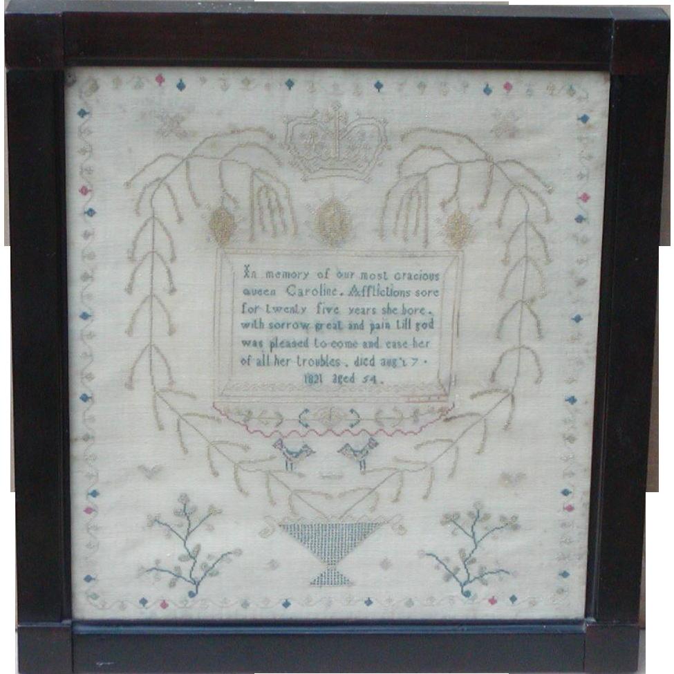 Sampler..Needlework sampler...Circa 1821 sampler...