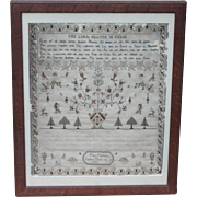 Sampler...Needlework sampler dated 1805...The Lords Prayer Sampler...