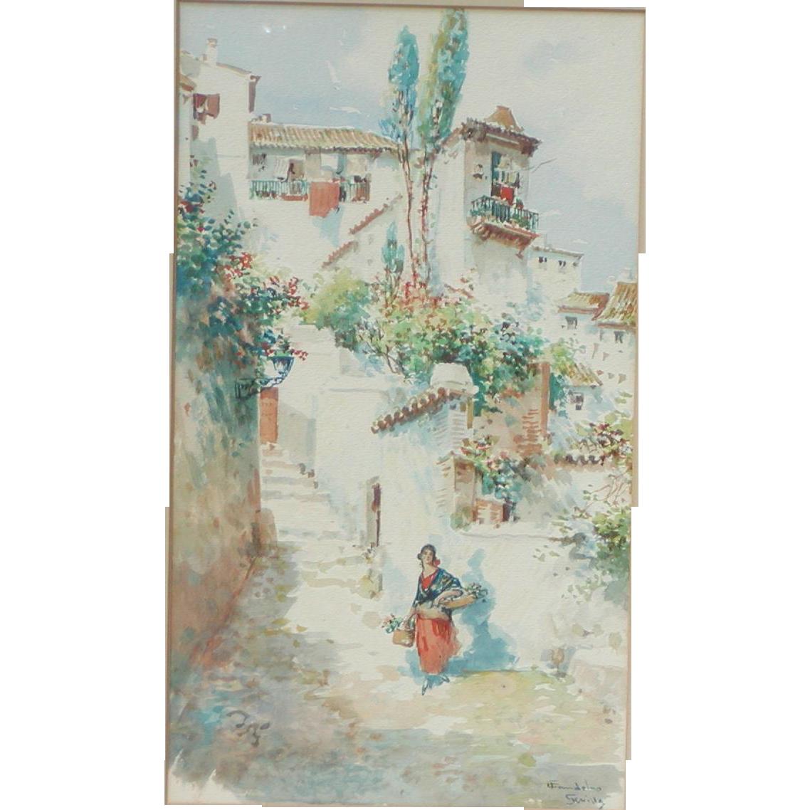 Sevilla Spain painting...Painting of a Spanish street scene...