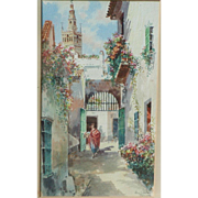 Spain Sevilla painting...Painting of a Spanish street scene...
