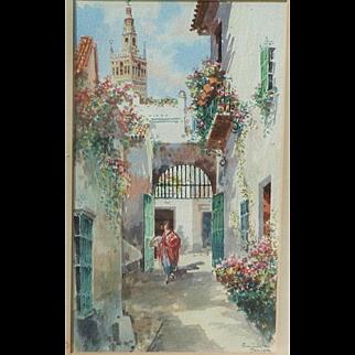 Spain Sevilla painting...Painting of a Spanish street scene...