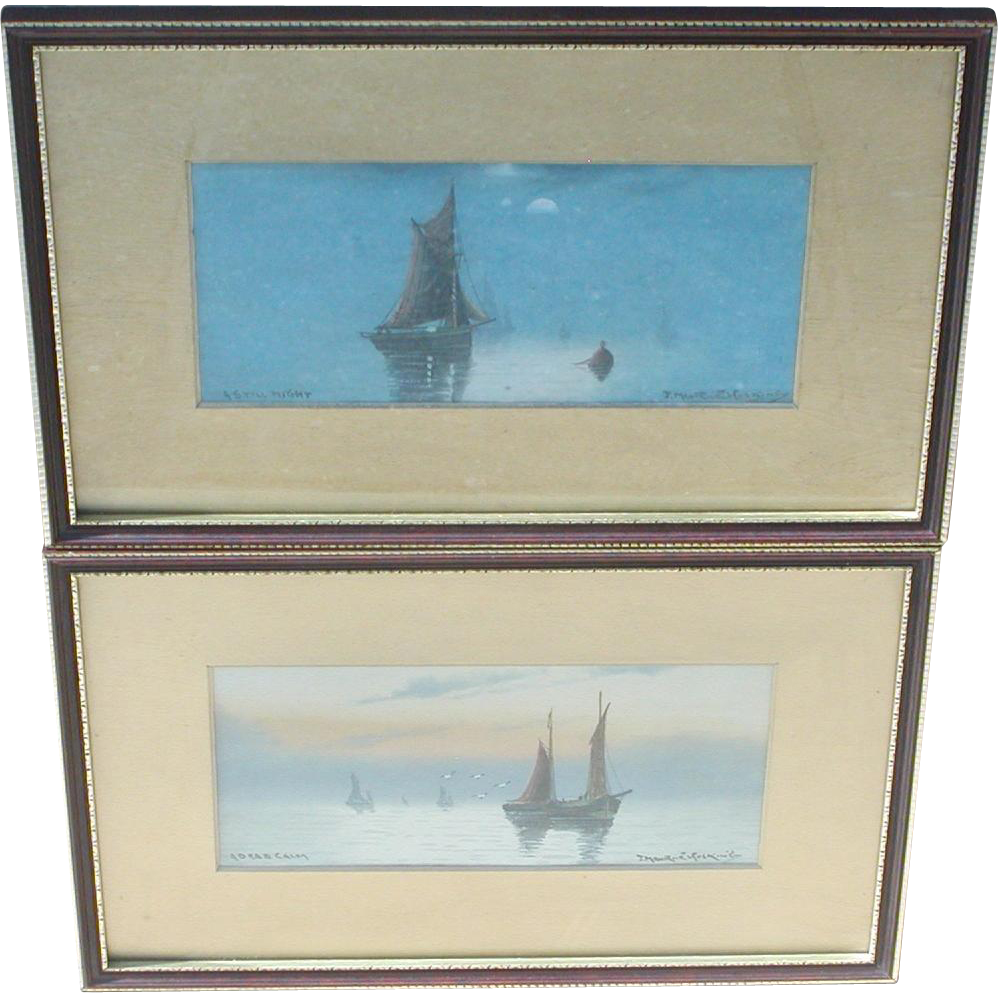 Painting of boats...Two watercolor paintings...