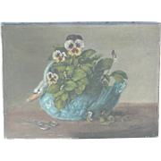 Pansies, swan painting...Painting of pansies & swan...