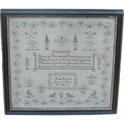 Sampler...Needlework sampler dated 1852...