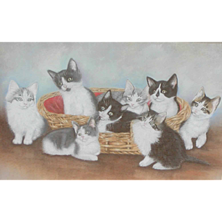 Kittens painting...Pastel painting of kittens...Cats painting...
