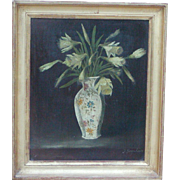 Daffodils painting...Painting of daffodils...Vintage oil painting of daffodils...