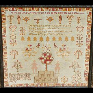 Sampler...Needlework sampler...1887 sampler...