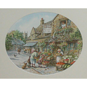 Painting...Watercolor painting...Village scene watercolor painting...