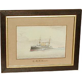 H.M.S. Vindictive...Ship painting...Naval ship...Cruiser...Painting of a ship...