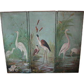 Screen...Folding screen...Oil painting of birds...