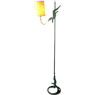 "WPA Robert Garret Thew c1928  adjustable height Bronze Floor Lamp ""Gulls"""