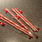 Blown Glass Handcrafted Santa Claus Peppermint Swirl Swizzle Sticks