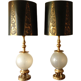 Marbro Table Lamps Pair Opaline Art Glass  24K w/ Original Shades