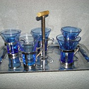 Deco Era Cobalt and Chrome Bar set