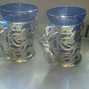 Pair of Chrome Tankards, Cobalt Liners, Nude Handles -Deco Era