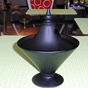 Black Satin Glass Covered Dish