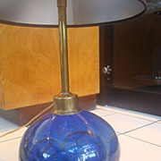 Cobalt Art Glass Lamp