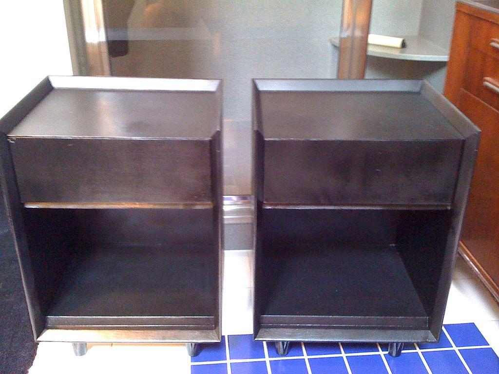 Pair of Black Nightstands by Morris of California