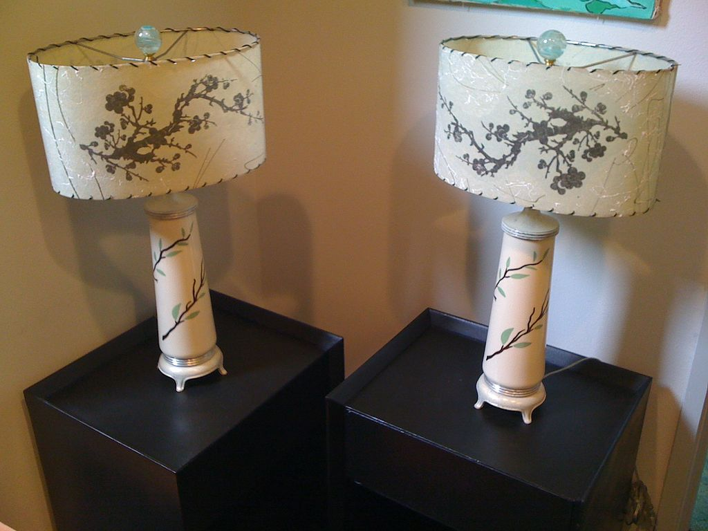Pair of 1950's Oriental Lamps with original shades