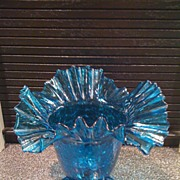 Ruffled Top Footed Vase by Blenko