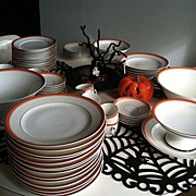 Bavaria Heinrich Co bone china orange and black w Butterfly handles great for Halloween!!