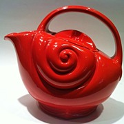 Hall Pitcher Nautical orange red colorful 1930's - Red Tag Sale Item