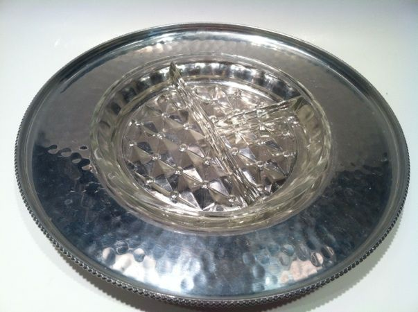 Buenilum Hammered Aluminum  and Glass Serving Dish