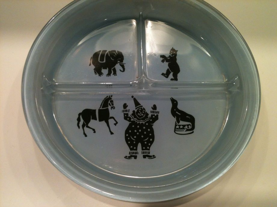 Blue Childs Plate 1950's Circus Motif