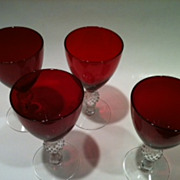 Set of 4 Golf Ball Ruby Morgantown Claret Wine Glasses