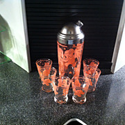 1950's Glass and Chrome Pink Elephant Cocktail Shaker Set