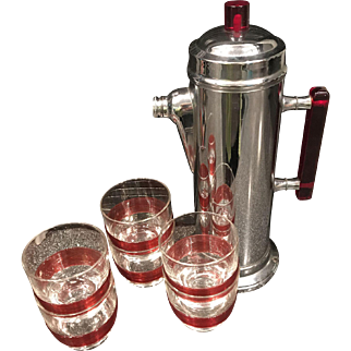 1940's Cocktail Shaker Set with Six Glasses