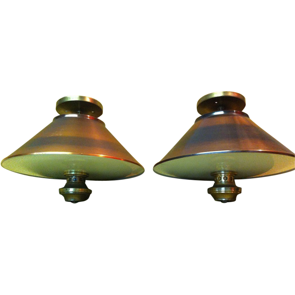 1960's Copper Ceiling Light Fixture (One Remaining)