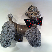 Gray Spaghetti Poodle with Polka Dot Bow Tie
