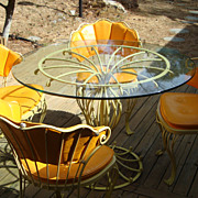 Vintage Woodard Iron Patio Set( ultra rare design-all pieces signed)