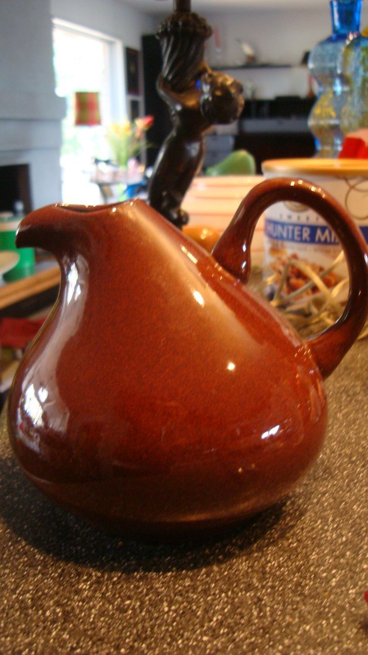 Russel wright american modern bean brown carafe pitcher from eraofmyways on ruby lane - Russel wright pitcher ...
