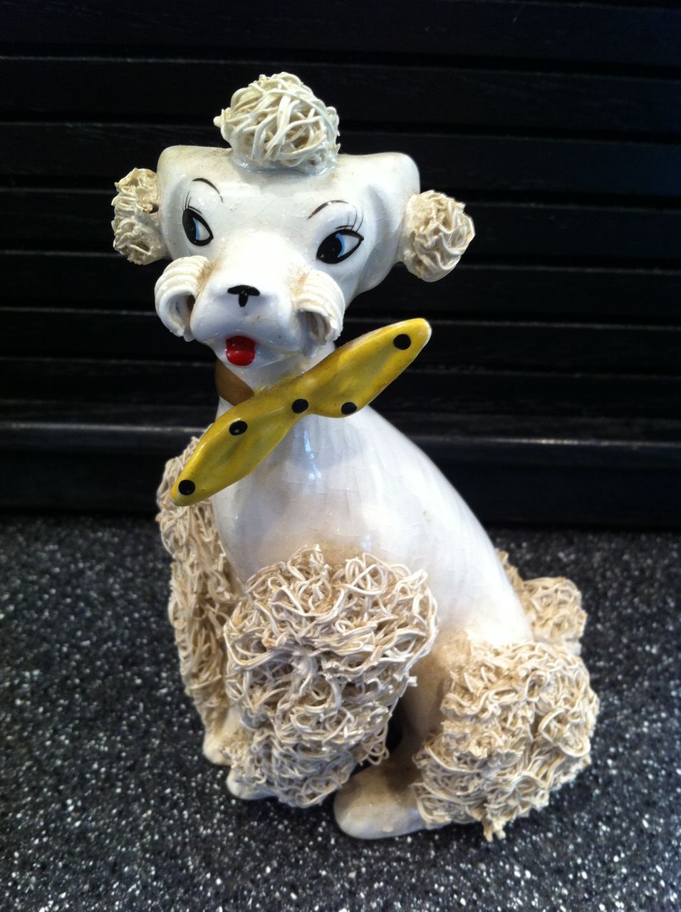 White Spaghetti Poodle with Yellow Polka Dot Tie