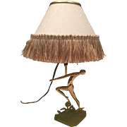 Vintage Nude Brass and Copper Lamp
