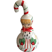 Lefton Christmas Candy Cane Girl Ornament and Bell