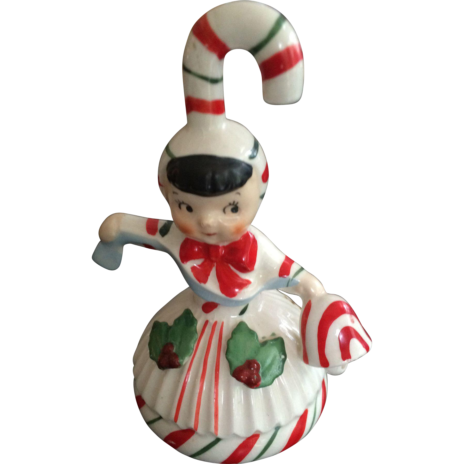 Large candy cane ornaments - Geo Lefton Christmas Candy Cane Girl Ornament And Bell