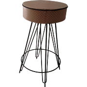 RETRO 40'S Super Neat IRON Swivel Stool with Baby Pink Vinyl UPHOLSTERY