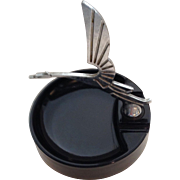 Black Glass Ashtray with Bird Motif